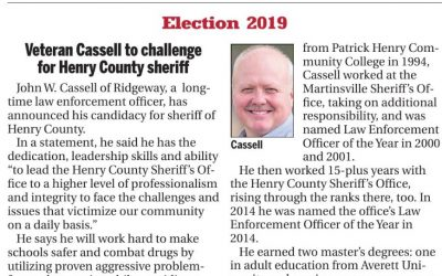 Veteran Cassell to challenge  for Henry County sheriff